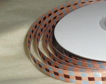 "Spool of Ribbon / Brown Ribbon / For Dad / Brown and Blue Plaid / Ribbon / 3/8"" X 25 yards"