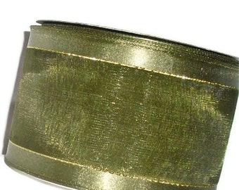 "Clearance...Green Wire Ribbon...2 1/2"" X 25 yard spool"