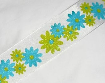 "Flower Print  Wire Ribbon... 1.5"" X 12 Feet"