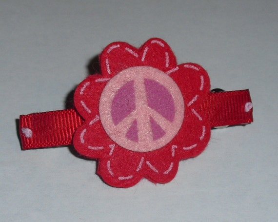 Red and Pink Flower with Peace Sign Barrette