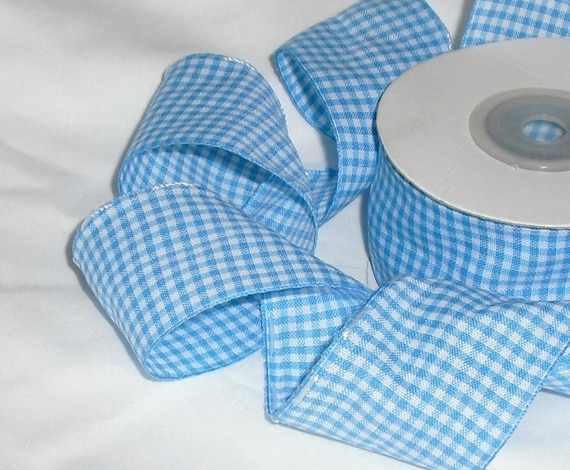 """Gingham Blue and White Ribbon...1.1/2"""" X 10 yards"""