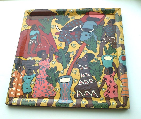 Set of 3 African Art Zimbabwe Village Life Hunting Painting Tray Wall Hanging