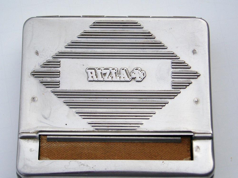 Vintage Rizla Cigarette Tin Rolling Paper Machine Box Holder