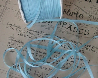 Vintage narrow soft rayon ribbon in beautiful pale blue, 5 yards