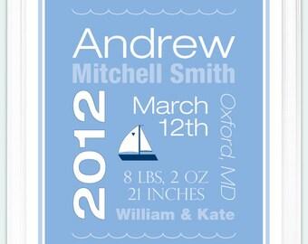 Personalized Baby Boy Birth Announcement Print - Sailboat Nursery Wall Art