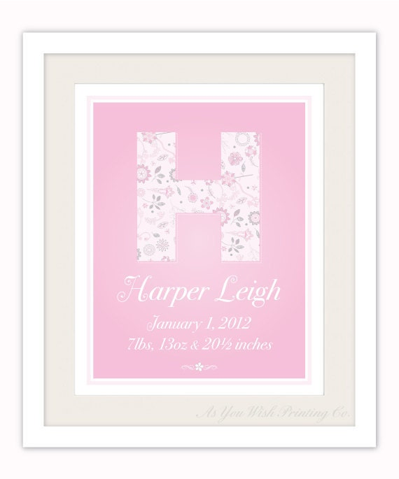 Custom Monogram Retro Floral 11x14 Birth Poster - Bubblegum Pink Nursery Wall Art for Baby Girl