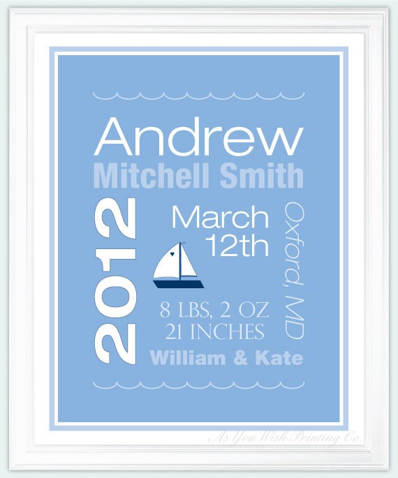 Personalized Baby Boy Birth Announcement Print - Sailboat Nursery Wall Art