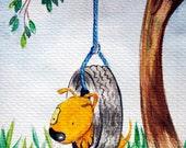 Original Watercolor Yelodoggie: Canis Pendulous