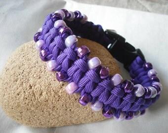Electric Purple Dog Collar beaded small dog apparel