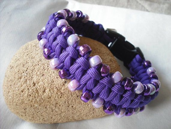 Electric Purple Dog Collar beaded small dog apparel