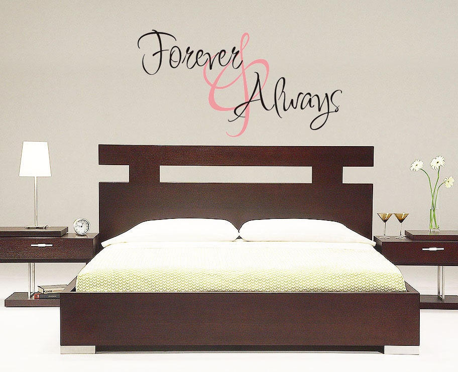 Wall decal forever and always vinyl decal by villagevinepress for Bedroom wall decals