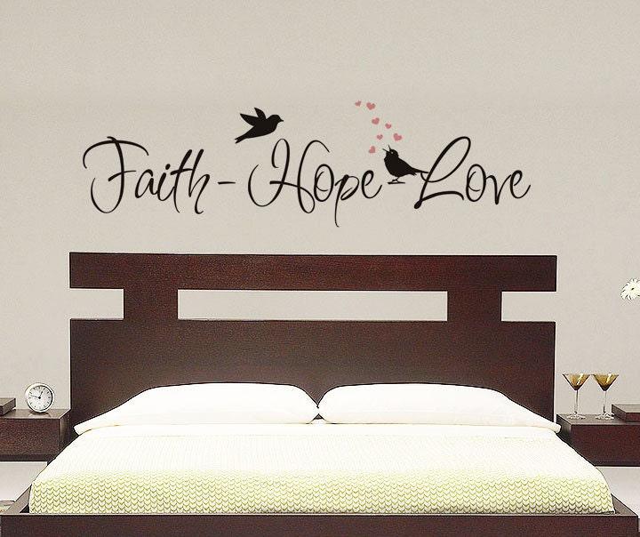 Faith hope love wall decal vinyl decal by villagevinepress for Faith decor
