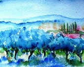 Tuscan  Olive Grove -Original watercolour - 6 x 5 inch