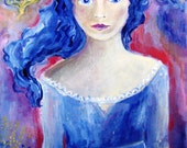 """Original Acrylic painting """"Your Sister Sees the Future""""  on canvas -gothic - folk art 12 x 16 inches"""