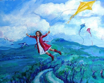 The Yellow Kite -  Print 6 x 8 ins with free ivory  mat