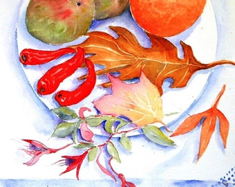 Autumn Still Life  with Chillies and Fuchsia -.  watercolour painting -original art SALE