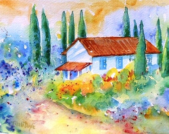 Villa in Tuscany with Cypress trees -  original watercolour painting  with mat- SALE-lovely gift