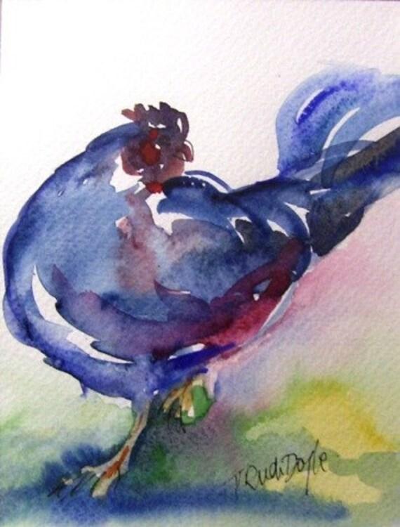 Preening Cockerel -Watercolour - original  Art