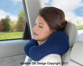 Large Blue Travel Neck Pillow Designed For Comfort, Cervical Neck Pillow
