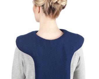 50% OFF Heating Pad,  Microwave Packs for Neck Shoulder UpperBack, Washable Navy Blue Fleece Cover, Large, Flax Seeds