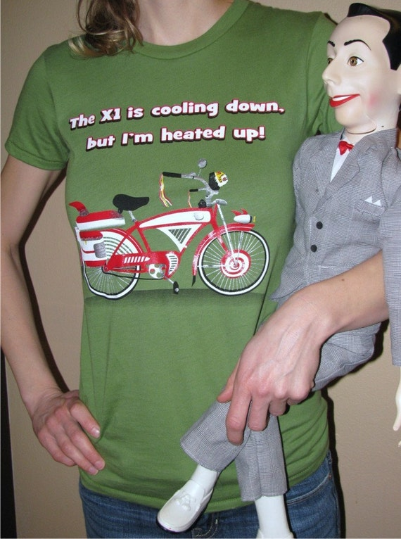 Pee Wee Herman Bicycle T Shirt Ladies Fern Green Size Small