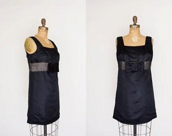 SALE 1960s Dress - 60s Dress - Black Satin Mini Dress
