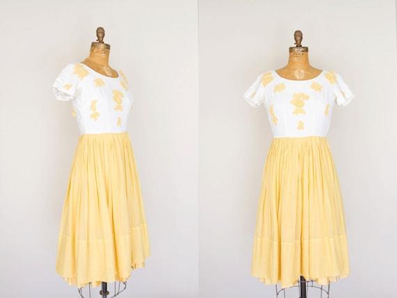 1950s Dress - 50s Dress - White And Marigold Day Dress