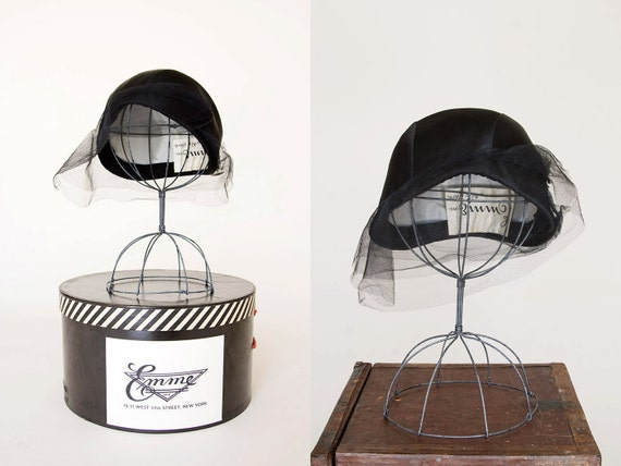 Vintage 1950s Cloche - 50s Hat And Hat Box 20s Style - Cherie