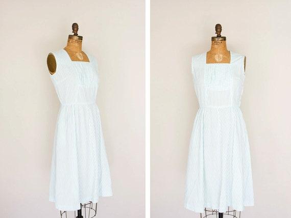 SALE 1950s Dress - 50s Dress - Aqua And White Striped Day Dress