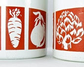 Red and White Kitchen Canisters