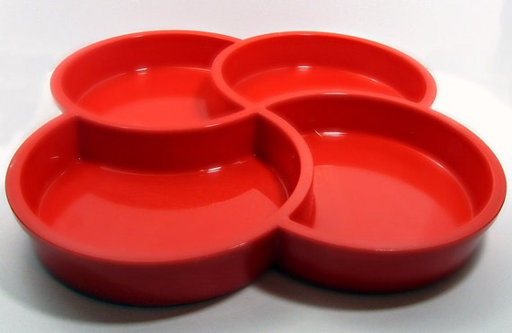 Gunnar Cyren Red Four-Section Tray for Dansk