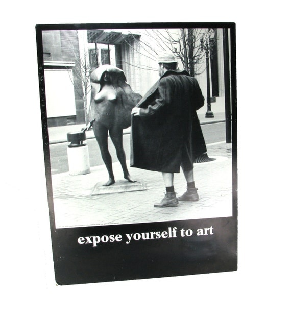 """Portland, OR  """"expose yorself to art"""" Vintage Poster"""