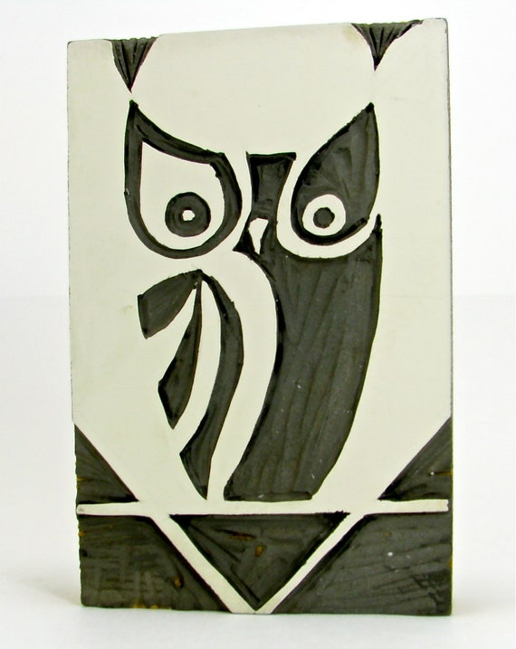 Vintage Linocut Owl for Printmaking