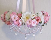 Pink and White Floral Mobile with Pearls and Crystal Cut Pendants
