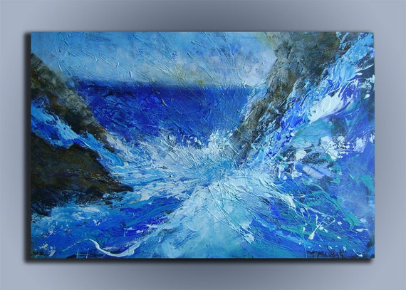Freedom of expression-Huge acrylic abstract blue painting on canvas