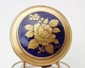 Vintage Limoges  Vintage Powder Compacts  Cosmetic Compact  Limoges France  Cobalt Blue  Mirror Compact Case