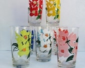 Libbey Glasses, Vintage Drinking Glasses,  Water Glasses, Painted Roses
