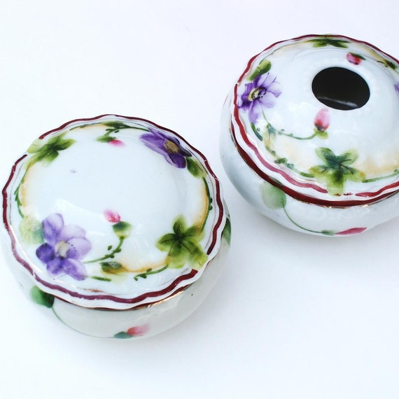 Antique Powder Jar, Antique Hair Receiver, Antique Vanity Set, Hand Painted Nippon