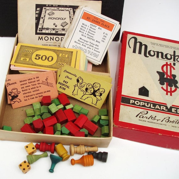 Vintage Monopoly  Vintage Monopoly Game  Wooden Pieces  Family Game Night  Kids Toy
