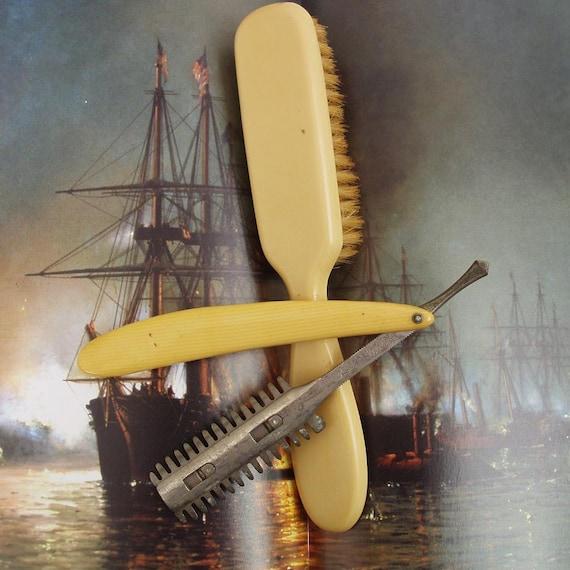 RESERVED for KARI  5/7/12   Antique Straight Razor, Antique Razors, Antique Hair Brush