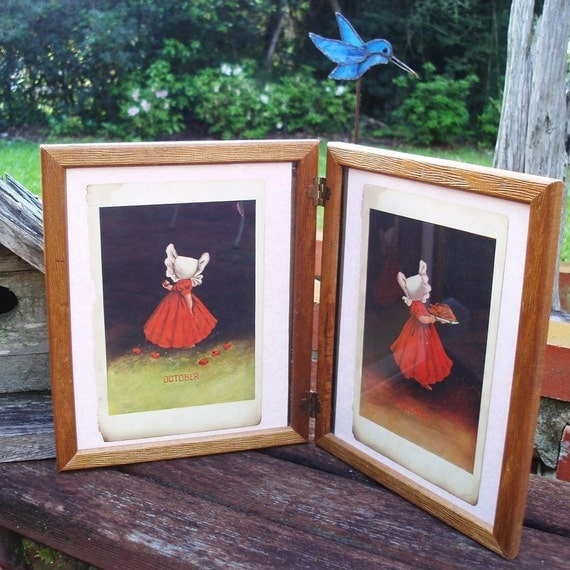 Vintage Wood Picture Frames, Photo Frames, Double Hinged - Little Susie Sunbonnet Prints, Antique Prints