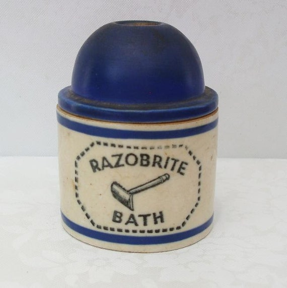 Antique Shaving Mug, Vintage Shaving, Antique Pottery, Blue White Pottery