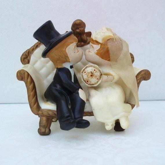 Vintage Wedding Cake Topper  Vintage Cake Topper    Bride and Groom Cake Topper  1970