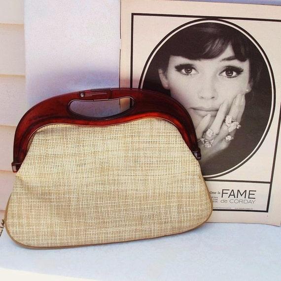 Vintage Handbag   Clutch Handbags   Vintage Purse   Lucite Handle  1960  Summer Hand Bag   vestiesteam  eveteam