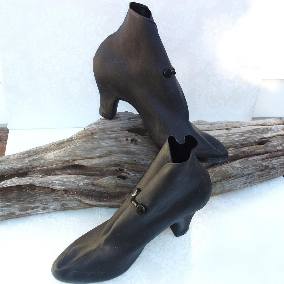 Vintage Galoshes Women Rain Shoes High Heel Galoshes