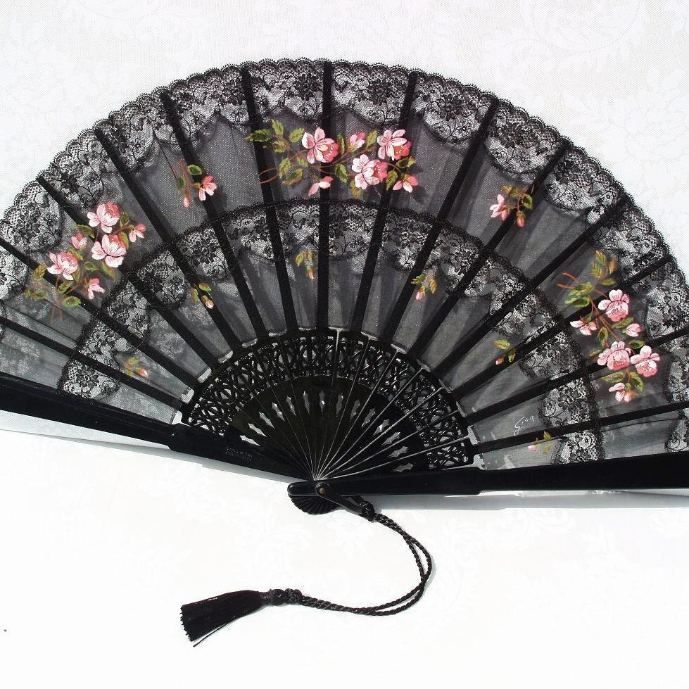 Folding Fans Silk Folding Fan Victorian Decor By Whimzythyme