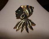 Rhinestone Brooch Crystal Black and Gold enamel Ladies head with Turbin Vintage Pin