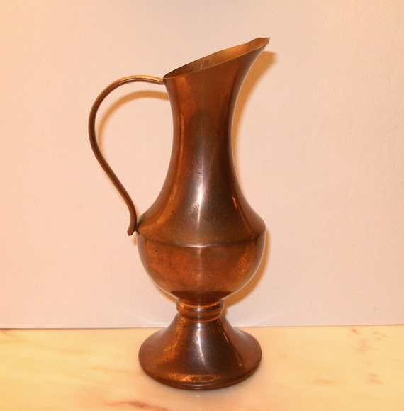 Vintage Copper Vase Urn Decorative Collectible Pitcher Small 6 inch Tall