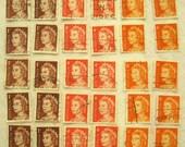 30 vintage Australian queen stamps