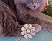 Vintage Textured Enamel Coro Denim Blue and Gold Flower Brooch